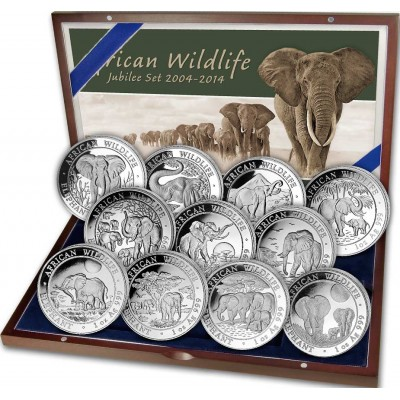 Somalian Elephants Anniversary 11 Coin Set Silver African Wildlife Series 2004-2014