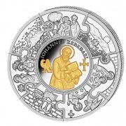 Silver Gilded Coin APOSTLE JOHN 2011, Liberia - 5 oz