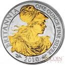 Great Britain Britannia £2 Gilded 2010 Silver coin 1 oz