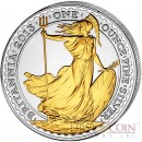 Great Britain Britannia £2 Gilded 2013 Silver coin 1 oz