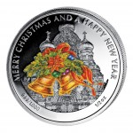 "Silver Colored Coin JINGLE BELL, ""Christmas Coins"" Series, Liberia - 1/2 oz"