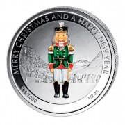 """Silver Colored Coin THE NUTCRACKER, """"Christmas Coins"""" Series, Liberia - 1/2 oz"""