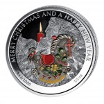 "Silver Colored Coin THE ROCKING HORSE, ""Christmas Coins"" Series, Liberia - 1/2 oz"