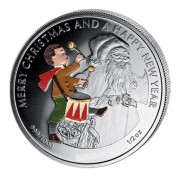 """Silver Colored Coin THE DRUMMER, """"Christmas Coins"""" Series, Liberia - 1/2 oz"""