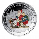 "Silver Colored Coin SANTA CLAUS, ""Christmas Coins"" Series, Liberia - 1/2 oz"