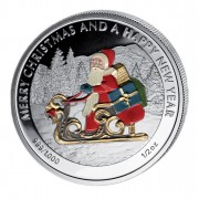 """Silver Colored Coin SANTA CLAUS, """"Christmas Coins"""" Series, Liberia - 1/2 oz"""