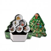 """""""Christmas Coins"""" Series Six Silver Colored Coin Set, Liberia"""
