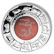 Silver Colored Coin CRYSTAL DRAGON 2012