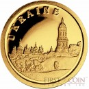 "Liberia UKRAINE $12 ""European Collection"" series Gold coin 2008 Proof"