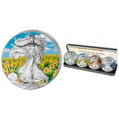 American Silver Eagle Four Seasons Colored 4 Four Coin Set 2013
