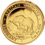 "Gold Coin ELEPHANT 2011 ""African Wildlife"" Series - 5 oz"