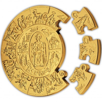 Gold Puzzle Coin ST. PETER THALER 2009, Liberia - 1 kg