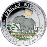 "Silver Colored Coin ELEPHANT 2011 ""African Wildlife"" Series - 1 oz"