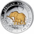 "Silver Gilded Coin ELEPHANT 2011 ""African Wildlife"" Series - 1 oz"