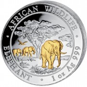 """Silver Gilded Coin ELEPHANT 2012 """"African Wildlife"""" Series - 1 oz"""