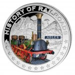 "Silver Colored Coin ADLER STEAM LOCOMOTIVE 2011, ""History of Railroads"" Series, Liberia"