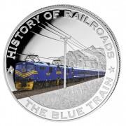 """Silver Colored Coin BLUE TRAIN 2011, """"History of Railroads"""" Series, Liberia"""