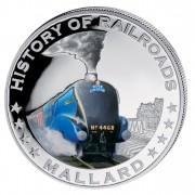 """Silver Colored Coin MALLARD 2011, """"History of Railroads"""" Series, Liberia"""