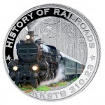 "Silver Colored Coin AUSTRIAN STATE RAILROAD 2011, ""History of Railroads"" Series, Liberia"