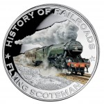 """Silver Colored Coin FLYING SCOTSMAN 2011, """"History of Railroads"""" Series, Liberia"""