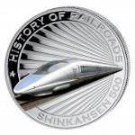 """Silver Colored Coin SHINKANSEN 2011, """"History of Railroads"""" Series, Liberia"""