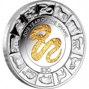 "Silver  Gilded Coin GOLDEN SNAKE 2013 ""Lunar"" Series - 5oz"