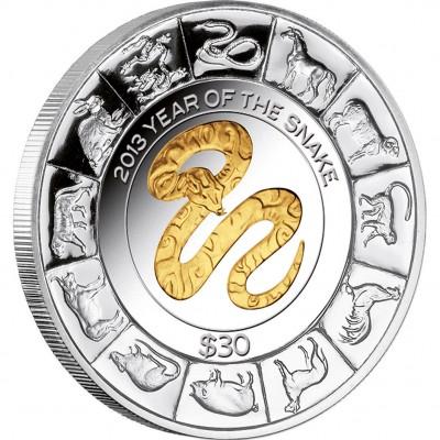 """Silver  Gilded Coin GOLDEN SNAKE 2013 """"Lunar"""" Series - 5oz"""