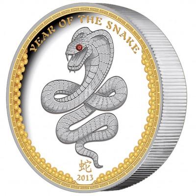 """Silver Coin High Relief SNAKE 2013 """"Lunar"""" Series Palau - 1oz"""