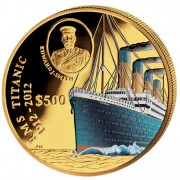 Gold Colored Coin 100 YEARS TITANIC 2012 - 5 oz