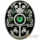 Niue Island LOVE TREE $1 Colored Silver Coin Hearts shaped Green Zircon inlay 2013 Proof Oval