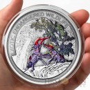 Fiji Stag beetle $10 Insect of the Year series Colored Silver coin Ultra High Relief 2014 Antique finish 2 oz