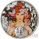 Niue Island CANCER $1 Alphonse Mucha Zodiac series Colored Silver Coin 2011 Proof