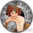 Niue Island SCORPIO $1 Alphonse Mucha Zodiac series Colored Silver Coin 2011 Proof