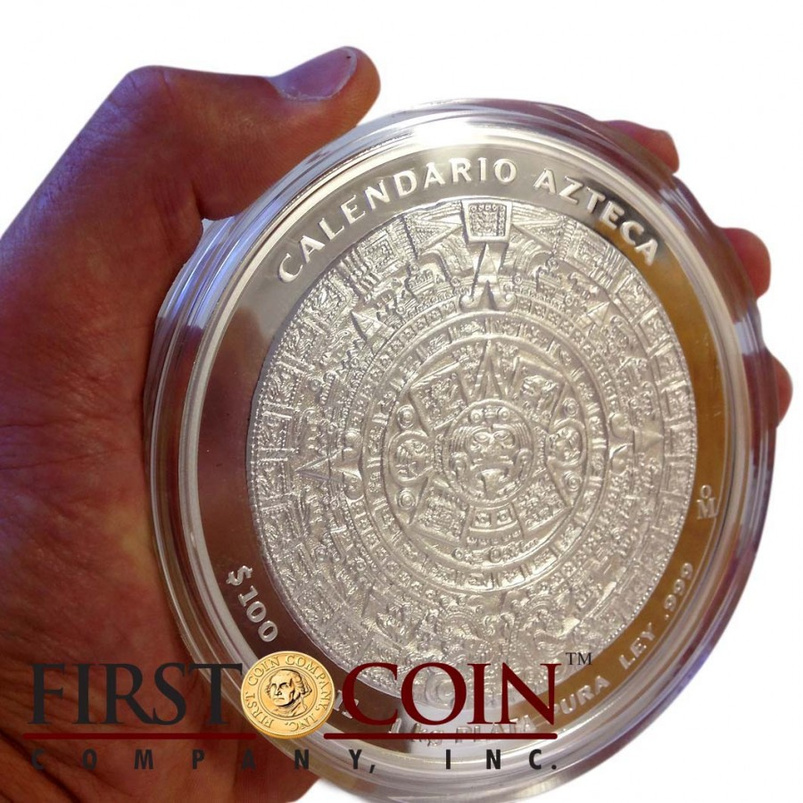 Silver Coin Mexican Aztec Calendar 2012 Proof Like Mexico
