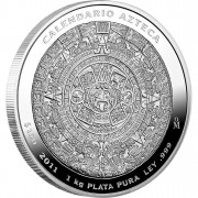 Silver Coin MEXICAN AZTEC CALENDAR 2012 Proof Like, Mexico - 1 Kilo