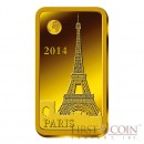 "Solomon Islands Paris $10 ""Famous World Landmarks"" series Gold coin-bar 2014 Proof"