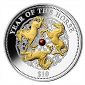 Fiji Year of the Horse with Pearl Lunar Chinese Calendar 2014 Gilded $10 Silver Coin 1 oz