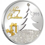 """Silver Coin CHRISTMAS TREE 2012 """"Christmas Coins"""" Series with zirconia crystal and gold-coloured elements"""