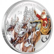 """Silver Coin SANTA CLAUS IS COMING TO TOWN 2012 """"Christmas Coins"""" Series with coloured elements"""