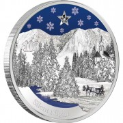 "Silver Coin SILENT NIGHT 2012 ""Christmas Coins"" Series with zirconia crystal and coloured elements"