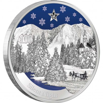 """Silver Coin SILENT NIGHT 2012 """"Christmas Coins"""" Series with zirconia crystal and coloured elements"""
