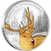 """Silver Coin RUDOLPH THE REDNOSED REINDEER 2012 """"Christmas Coins"""" Series with gold-coloured elements and red ruby"""