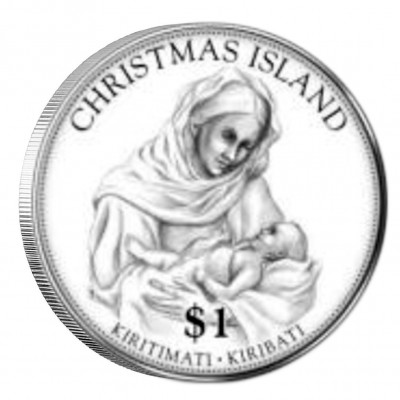 """Silver Gilded Coin MARIA AND CHRIST 2012 """"Christmas Coins"""" Series"""