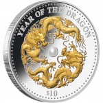 "Silver Coin with Pearl YEAR OF THE DRAGON 2012 ""Lunar"" Series"