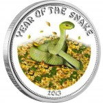 "Silver Coloured Coin GREEN SNAKE 2013 ""Lunar"" Series"