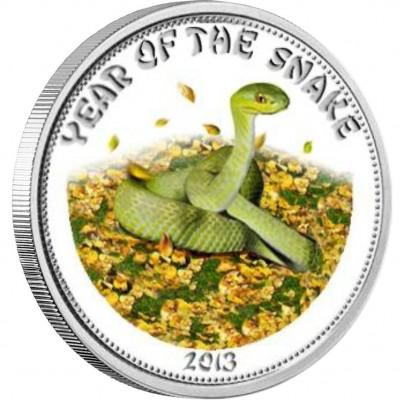 """Silver Coloured Coin GREEN SNAKE 2013 """"Lunar"""" Series"""