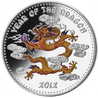 Серебряная монета ГОД ДРАКОНА В ЦВЕТЕ 2012 серии «Lunar»