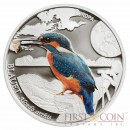 "Andorra European Kingfisher  ""Colorfull Birds"" series 5 Diners Silver Coin 2014 Colored"