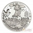 """Palau Resurrection of Jesus """"Biblical Stories"""" series Silver coin $2 Partly enameled 2014 Proof"""