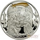 """Palau Holy Three Kings $2 """"Biblical Stories"""" series Silver coin Partly enameled 2014 Proof"""